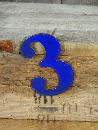 Alte Emaille Hausnummer 3 - Farbe Blau - Höhe 12cm Breite 8cm Bild