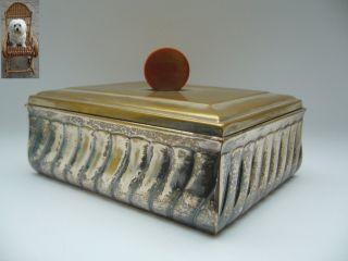 Alte Zigarettenkiste Holzkiste Art Deco Messing Versilbert 425 G Deckeldose Bild