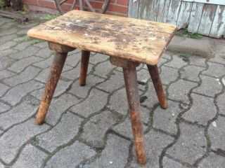 Schöner Alter Werkstatt Hocker Schemel Melkschemel Shabby Industrie Design /1 Bild