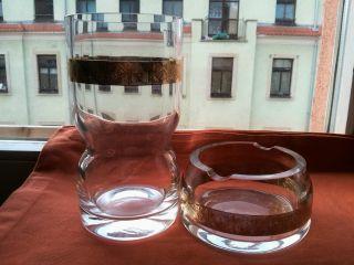 Ein Großes Schweres Glas/ Bierglas/ Vase,  Aschenbecher Blattgold Bohemia? Bild