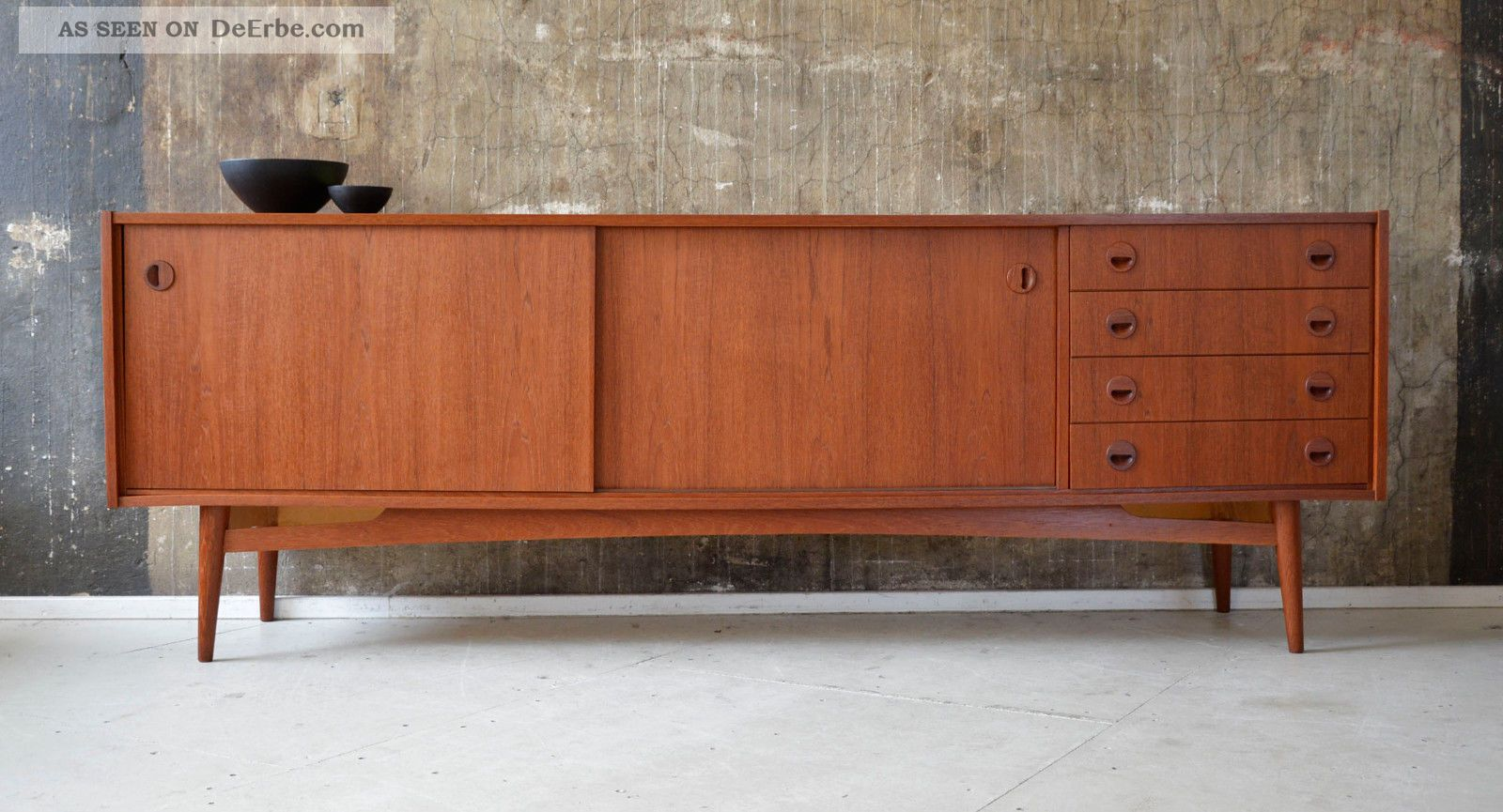 60er teak sideboard kommode midcentury 60s vintage. Black Bedroom Furniture Sets. Home Design Ideas