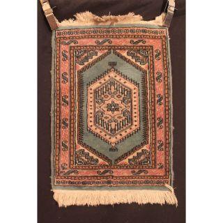 Grüner Feiner Handgeknüpft Orient Teppich Buchara Jomut Carpet Old Rug 65x47cm Bild