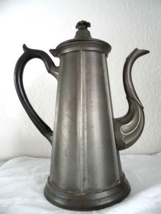 Antike Zinn Teekanne Kaffeekanne Signiert Hk Punze Zinnkanne Nachlass Bild