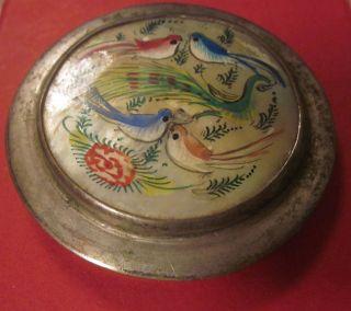 Alte Antike Dose Asien Miniaturmalerei Vögel Auf Perlmutt Bild
