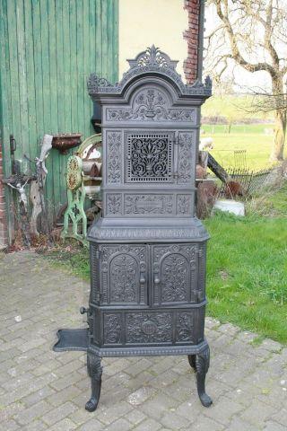 Antiker Gussofen,  Dänemark Um 1890,  Von H.  Rasmussen & Co.  Odense Nur Dekoteil Bild