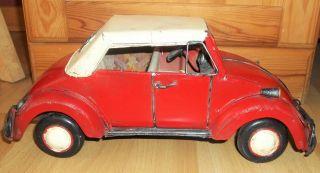 Nostalgie Rot Vw KÄfer Modellauto - Handgefertigter Blechauto Oldtimer L.  31cm Bild