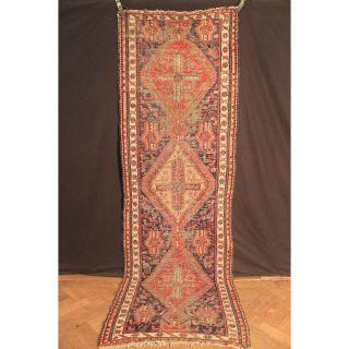 Antik Fein Handgeknüpfter Sammler Teppich Kelim Sumack Old Rug Carpet 300x95cm Bild