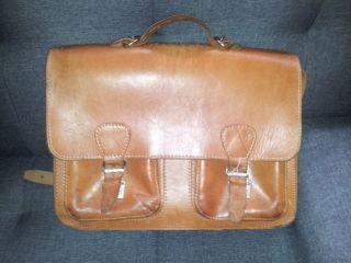 Vintage Schultasche Kübler Natur Leder Aktentasche Schultertasche Braun Bild