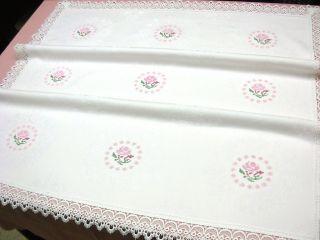 Herrliche Tischdecke Stickerei Rosen Handarbeit 95x95cm Weiß Damast Spitze Bild