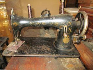 Uralt Nähmaschine Naumann Seidel Metall - Plakette Gold - Verziert Vintage Deko Bild