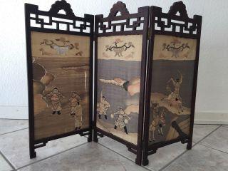 Geschnitzt Holz Paravents,  Bildschirm Mit Seiden (59 X 81 Cm) Bild