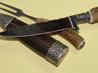 Fuhrmannsbesteck Trachtenmesser Messer Jagdmesser,  Hirschhor Griff,  C440 Klinge Bild