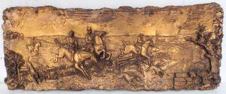 Großes Wandbild/relief Aus Gießmasse - Abbildung Treibjagd Zu Pferde Mit Hunden Bild