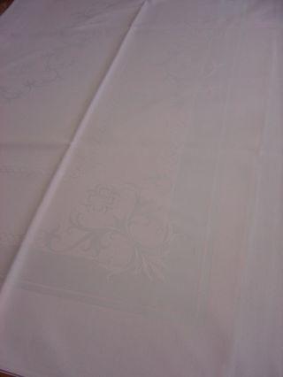 Damast - Mitteldecke,  Rosa,  Einwebmuster In Weiß,  123 X 123 Cm Bild
