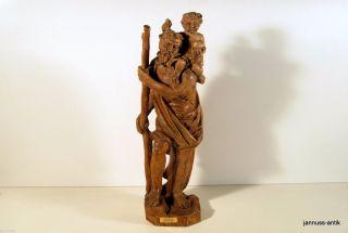 Schöne Holzfigur Hl.  Christopherus Massivholz Exquisite Künstlerarbeit Bild