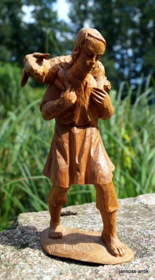 Holzfigur Krippenfigur Hirte 13,  5 Cm Massivholz Handgeschnitzt Künstlerarbeit Bild