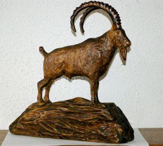 Steinbock,  Top - Skulptur,  Figur,  Holzschnitzerei Bild