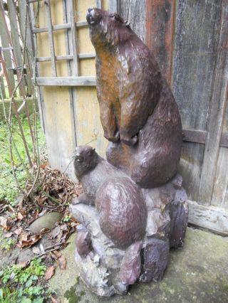 Alte Große Holzschnitzerei,  Murmeltiere,  Edelweiß,  Tiere In Den Bergen,  80 Cm Bild