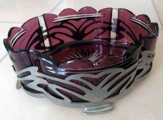 Jugendstil Glasschale In Metallmontur,  Farbe Violett/silberfarben Bild