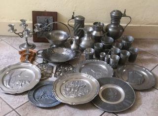 Zinn Sammlung 31 Teile Ca.  11,  5 Kg,  Kupfer Serviertablett,  Messing Mokkaservice Bild