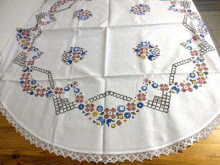 Alte Tischdecke,  Weiß,  Rund 120 Cm,  Spitze,  Stickerei - Handarbeit Bild