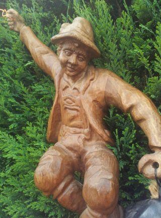 Holzfigur,  Handgeschnitz,  Nachwächter,  44cm,  Gartenfigur,  Deko,  Figur,  Holzarbeiten. Bild