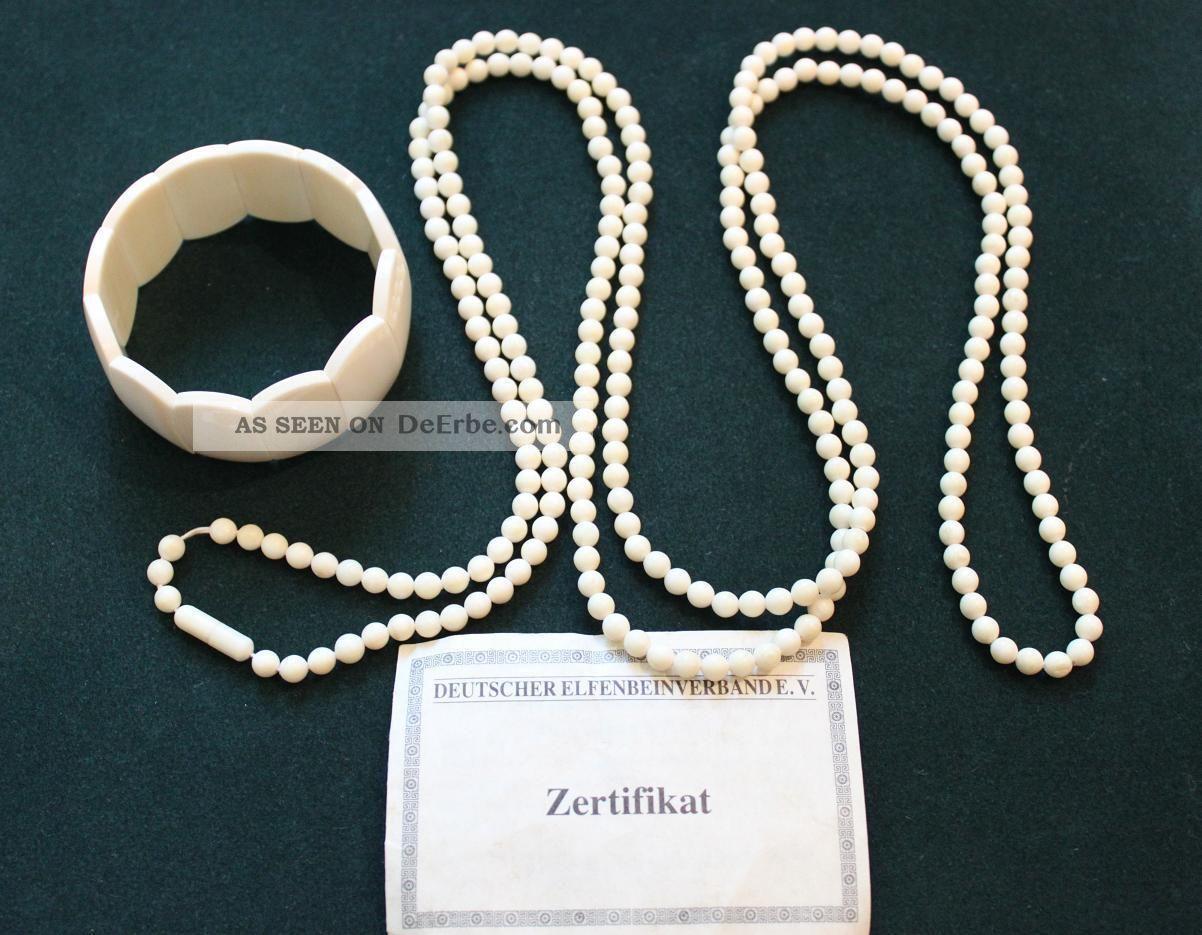 Bein Echtbein Schmuckset - Armband & Kette (149 Cm) - Mit Zertifikat - 73,  16 G Beinarbeiten Bild
