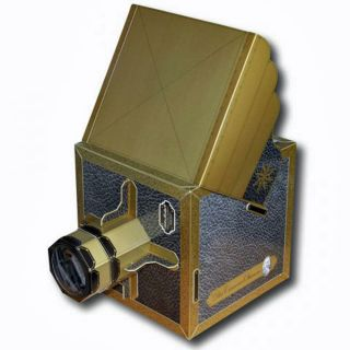 Camera Obscura Edler Bausatz Aus Karton Mit Linse Spiegel Golddruck Lederprägung Bild
