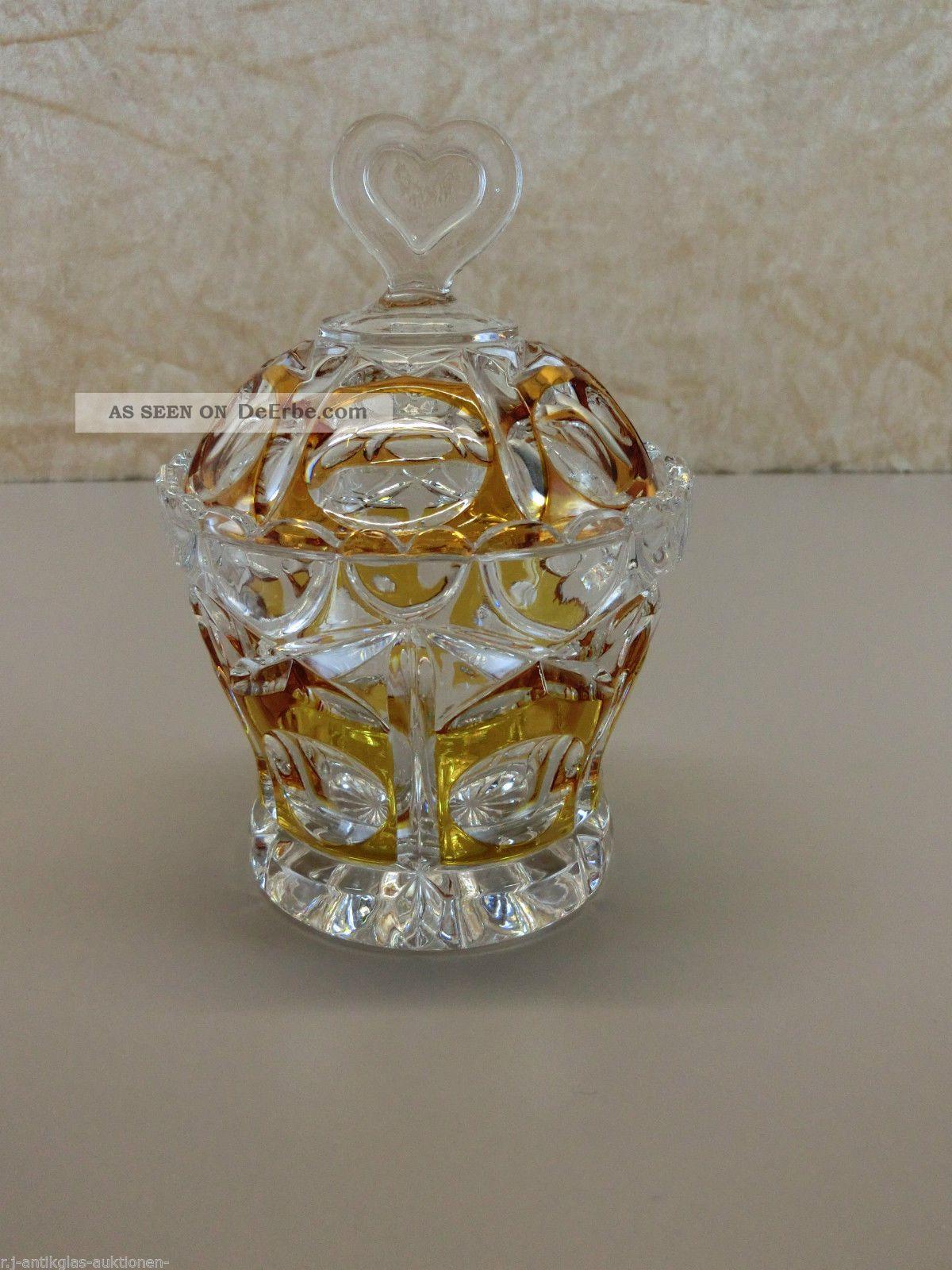 Deckeldose Dose Bleikristall Geschliffen Überfangglas Bernstein In Sammlerglas Bild