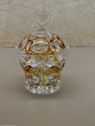 Deckeldose Dose Bleikristall Geschliffen Überfangglas Bernstein In Bild