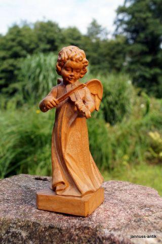 Holzfigur Engel Mit Geige 17 Cm Massivholz Handgeschnitzt Gelungene Handarbeit Bild