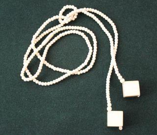 Antike Beinkette - Kette Bein Y Form M.  Knoten - Mit 2 Würfeln - 91 Cm - 21,  9 G Bild