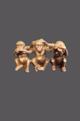 3 Affen Aus Bronze Chinesische Figuren Nichts Sehen,  Hören Und Verstehen Bild