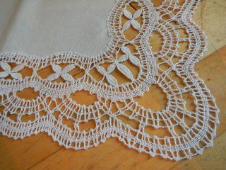 Tischdecke Decke Handarbeit Klöppelspitze Geklöppelt Unbenutzt 94 X 42 Cm Bild