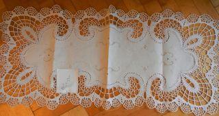 Läufer Decke Handarbeit Handarbeit Klöppelspitze Geklöppelt Top 86 X 39 Cm Bild