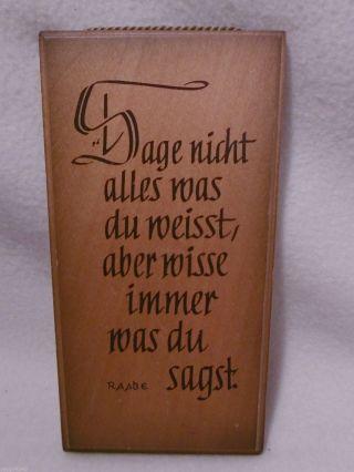 ,  Haussegen Aus Holz / Sage Nicht Alles Was Du. .  Andenken, Bild