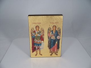 Siebdruck Ikone Die Erzengel Michael & Gabriel H 14,  5 Cm Ikonen Heiligenbild Bild