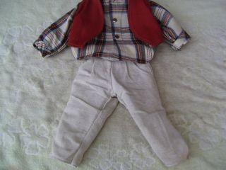 Alte Puppenkleidung Creme Pants Vest Suit Outfit Vintage Doll Clothes 50 Cm Boy Bild