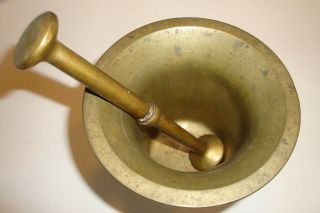 Alter Mörser Mit Stößel Aus Bronze/messing Bild