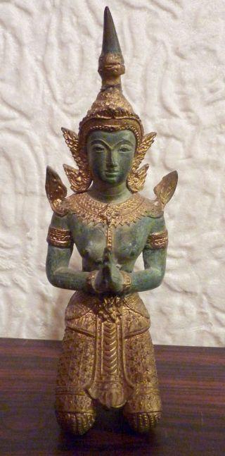 Bronze Betende Tänzerin Statue Skulptur Metall Figur Frau Antik Alt Metallfigur Bild