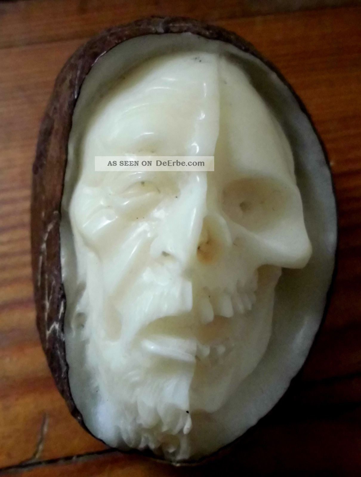 Januskopf,  Skull,  Schädel,  Geschnitzt Aus Tagua - Nuss Beinarbeiten Bild