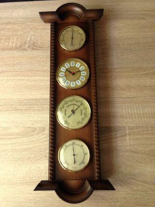 Große Wetterstation Massiv Holz Barometer Thermometer Uhr Hygromete Bild