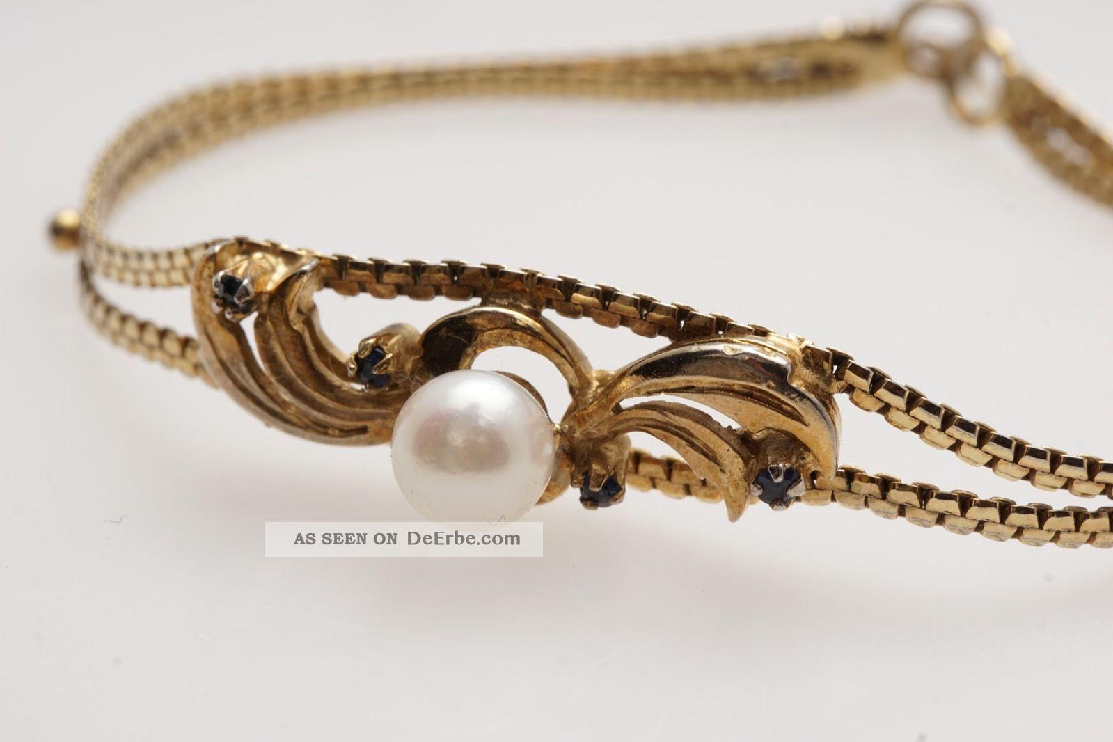 Schönes Armband Silber Vergoldet Safir Perle Schmuck nach Epochen Bild