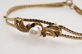 Schönes Armband Silber Vergoldet Safir Perle Bild
