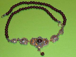 Antike Trachten Kette Mit 835 Silber Evtl.  Granat Edelstein Bild