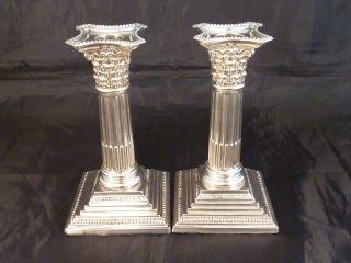 1 Paar Alte,  Englische Kerzenleuchter - 1923 - Säulenform - Aus Sterling Silber Bild