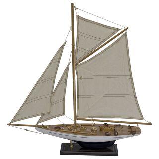 Segelboot Segelschiff Segelyacht Holz Weiß Blau U.  Schwarz Deko Standmodell 60cm Bild