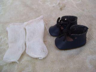 Alte Puppenkleidung Schuhe Vintage Dark Blue Shoes Socks 30 Cm Doll 4 Cm Bild