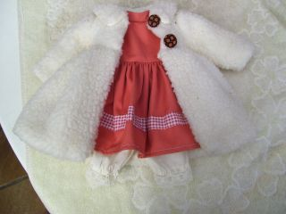 Alte Puppenkleidung Janus Dress Wooly Coat Outfit Vintage Doll Clothes 30cm Girl Bild