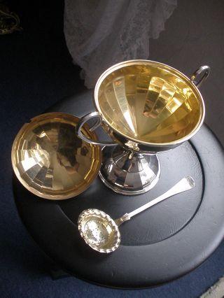 Kaviar - Zucker - Anbietschale - Pockal - Versilbert/vergoldet - Art Deco - Streulöffel Bild